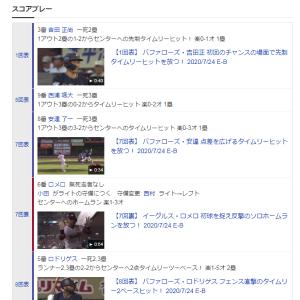 """【20'0724Ⓗオリ⑦オリ6-2鷲★】 いやぁ便利だなぁフルページキャプチャーって(笑) 【""""心はひとつ!""""になるのは何時?…野球のある日は、野球バナ】"""