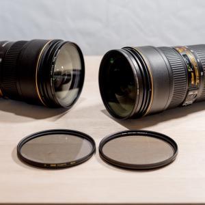 PLフィルター 幅比較 ケンコーZeta Quint vs マルミEXUS 82mm 24-70mm f2.8 VR用