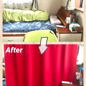 リモート用に自作パーテーション!天井にカーテンを取り付けてみました!