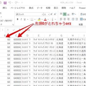 ExcelでCSVファイルを開く時は前0(ゼロ)を消さないで開く