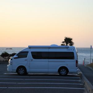 強風の恋路ヶ浜 駐車場で車中泊 in 伊良湖岬