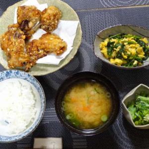 ●鶏の唐揚げ ・ほうれん草卵炒め 菜花のクリチ和え ・大根と人参のお味噌汁 ~おこたつで伸び々~