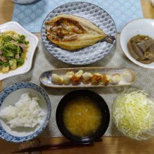 ●いさきの干物 ・帆立と水菜炒め ・竹輪チーズ ・玉葱としじみのお味噌汁 ~ベッド購入♪~