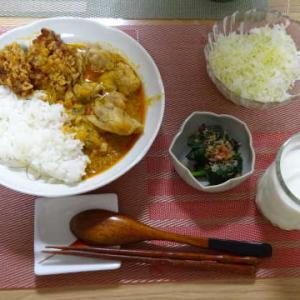 ●レッドカレー・牡蠣フライ・ほうれん草のお浸し ●山菜炊込みご飯・肉じゃが ~くつろぎわんこ~