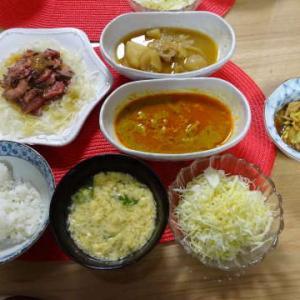●ローストビーフとオニオンスライス ・かき玉スープ ●ごま豆乳鍋 ~わんこケーキ♪~