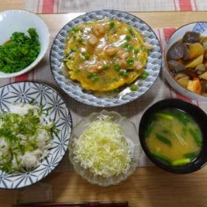 ●干物混ぜ込みご飯 ・餡かけニラ玉 ・煮物 ・菜花の辛子醤油和え ~ちゃたと苺大福~