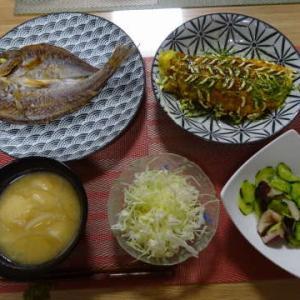 ●干物 ・豚ペイ焼き ・たこときゅうりの酢の物 ・玉葱とお麩のお味噌汁 ~ちゃた日々~
