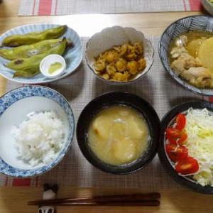 ●鶏手羽と大根の煮物 ・焼き空豆 ・ベビー帆立の佃煮