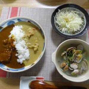●2色カレー ・干物混ぜ込みご飯 ・菜花とベーコン炒め ・帆立のカルパッチョ ・スープパスタ