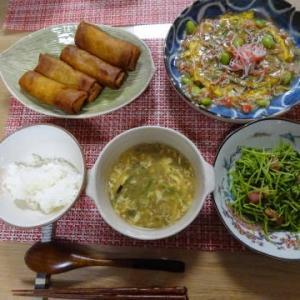 ●春巻 ・餡かけにら玉 ・豆苗炒め ・ふかひれスープ
