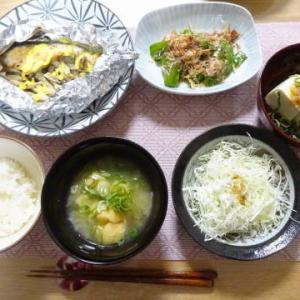 ●鮭のホイル焼き ・焼きピーマン ・ジャンツォンジャン冷奴 ・きし麵 ・もやしともつ炒め