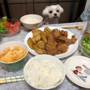 から揚げ&ポテト!揚げ物いっぱい豪華夕食!