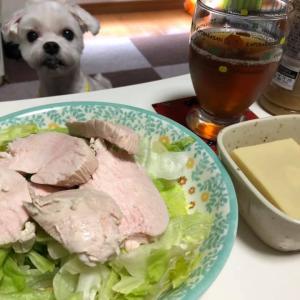 鶏ハムサラダと高野豆腐