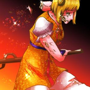 忠誠心がそのまま強さになる程度の能力~東方鬼形獣5面ボス・杖刀偶磨弓(じょうとうぐうまゆみ)を描いてみた