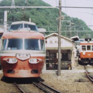 昔の箱根登山鉄道 風祭駅での交換シーン