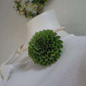 洋装和装にあうポンポン菊のコサージュ&髪飾り完成~