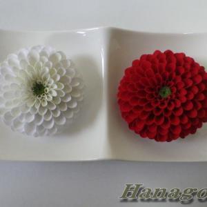 即位礼祝!紅白のぽんぽん菊のコサージュ&髪飾り出品