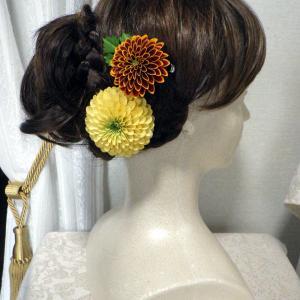 ぽんぽん菊のコサージュ&髪飾りイエローをCreemaに出品