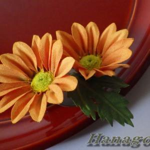 小菊のコサージュ&髪飾りオレンジCreemaに出品