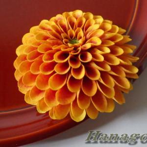 ポンポン菊のコサージュ&髪飾りオレンジ出品