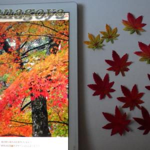紅葉のコサージュ制作と玄関の紅葉のディスプレー