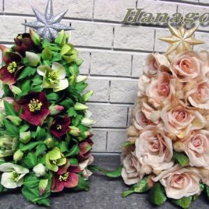 2つのツリーの紹介バラとクリスマスローズです