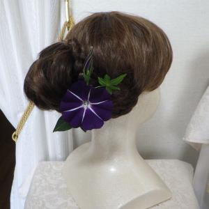 「再販」浴衣に合う朝顔のコサージュ&髪飾り出品