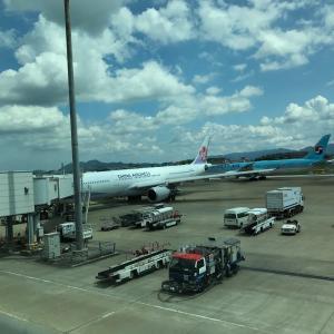 福岡空港から桃園国際空港へ。台北到着です!