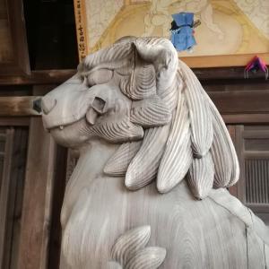 【富山】射水市・放生津八幡宮の御朱印と木彫りの狛犬