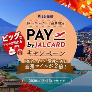 【最大32000マイル】PAY by JALCARDキャンペーン JALカード・Visaカード