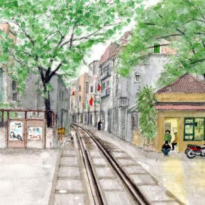 ベツナム ハノイ 「線路は生活道路」