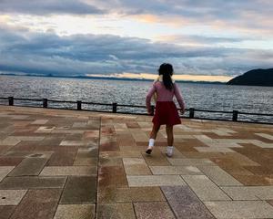 夕陽に向かって叫ぶ〜5歳の気持ち〜がんばるよお!!