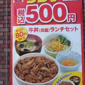 すき家のワンコインランチセット(足利南大町店)