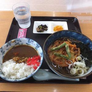 もつ煮ショップの天ぷらそば ミニカレーセット