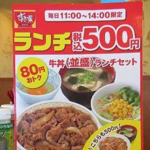 すき家のランチセット500えん(足利南大町店)