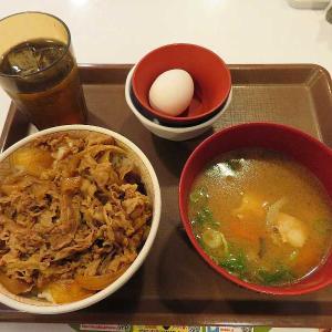 牛丼・とん汁並盛モーニング(すき家桐生相生店)
