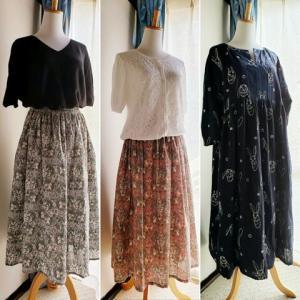 《SHOP》うさぎ柄のワンピース と ふんわりスカート