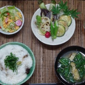 鮪のやまかけ丼、夏野菜の揚げびたしの晩ごはん!