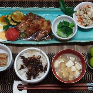 炒り豆腐、きのこの肉巻きの晩ごはん!