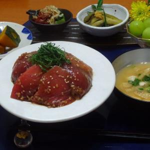 醬油麹 鮪丼、かぼちゃの煮物の晩ごはん!