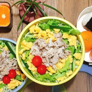今日は野菜の日!豚しゃぶサラダ冷やし中華をタッパーで弁当