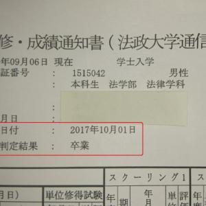 第40講【法政通信 法学部】卒業判定通知の到着(^^)