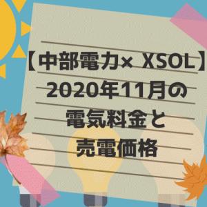 【中部電力×XSOL】2020年11月の電気料金と売電価格。