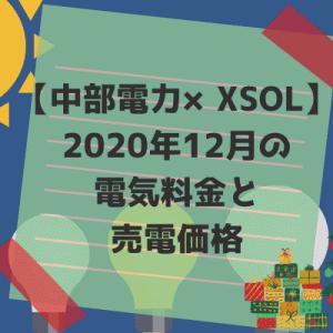 【中部電力×XSOL】2020年12月の電気料金と売電価格。