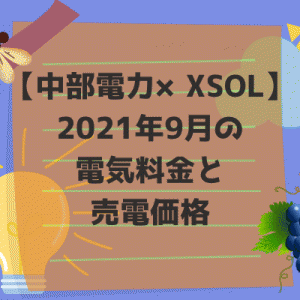 【中部電力×XSOL】2021年9月の電気料金と売電価格。