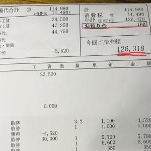 旧車子の車検と修理代金払ってきました。