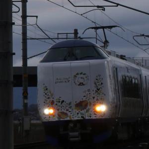 1009M 271系+281系電車 ハローキティ はるか 「扇」「折り鶴」ラッピング装飾
