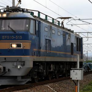 6551レ EF510-515 車輪専用コンテナ積載のZM8A×3、ピカピカのコキ3両