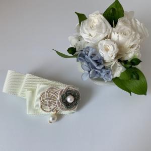 あこや真珠で制作した水引バレッタ
