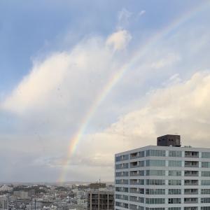 虹が空で曲がってる♪
